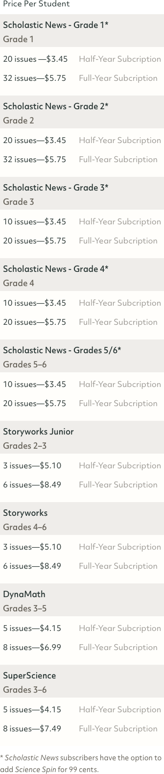 Scholastic Magazine 6 and 12 month subscription prices.