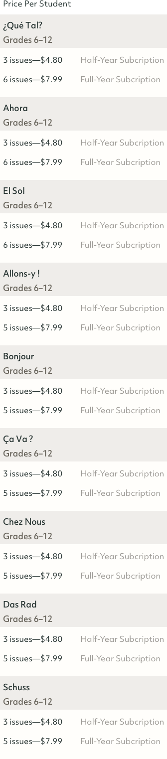 Foreign language magazine 6 month and 12 month subscription prices.