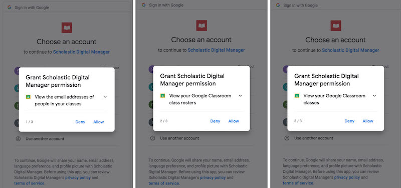 How to grant Google Classroom permissions through email login.