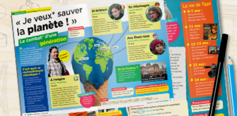 Open French magazine for students.