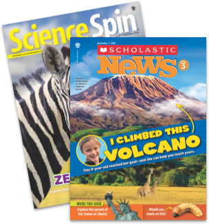 Science Spin and Scholastic News 3 magazine