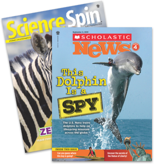 Science Spin and Scholastic News 4 magazine
