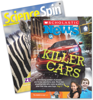 Science Spin and Scholastic News 5-6 magazine